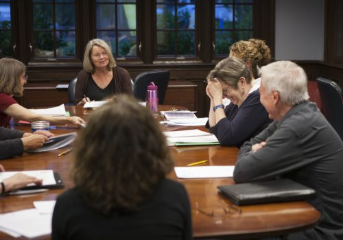 Elizabeth Lutyens teaches a group of students.